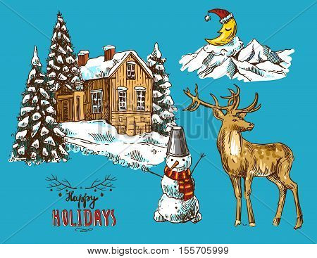 Hand drawn sketch set of illustration christmas landscape with house, spruce and deer. Us for postcard, card, invitations and christmas decorations.