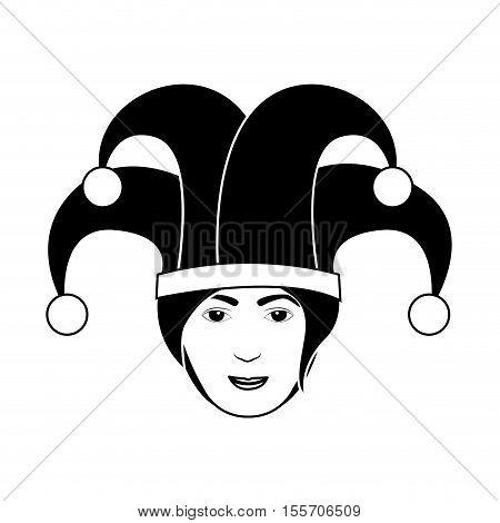 silhouette of head harlequin man vector illustration