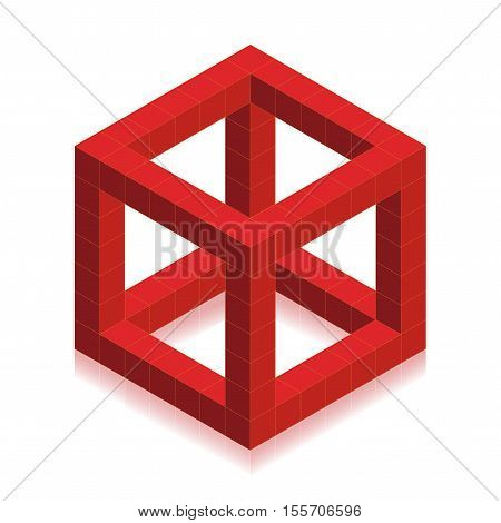 Vector red cube created cubes on white background - illustration