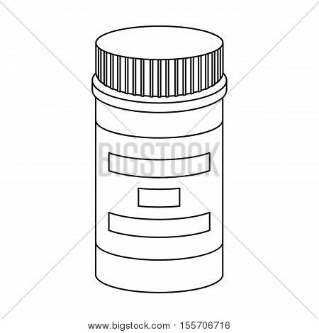 Prescription bottle icon in outline style isolated on white background. Drugs symbol vector illustration.