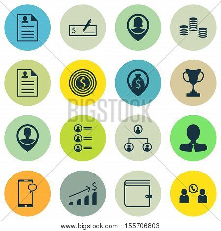 Set Of Hr Icons On Pin Employee, Messaging And Curriculum Vitae Topics. Editable Vector Illustration