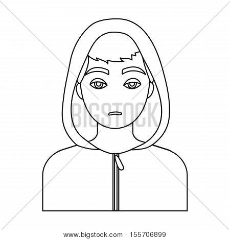 Drug addict man icon in outline style isolated on white background. Drugs symbol vector illustration.