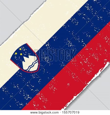 Slovenian grunge flag diagonal background. Vector illustration.