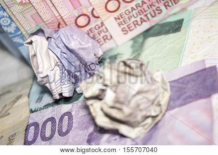 Macro Close Up Crumpled Rupiah Indonesia Money