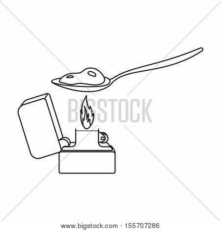 Heroin icon in outline style isolated on white background. Drugs symbol vector illustration.