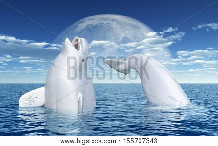 Computer generated 3D illustration with Beluga whales in front of the moon