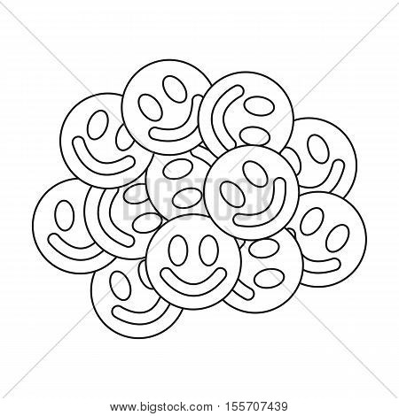 Ecstasy icon in outline style isolated on white background. Drugs symbol vector illustration.
