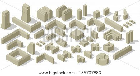 Collections of city isometric urban silhouette of building. Big set of abstract buildings. Construction your own city plan. Vector illustration