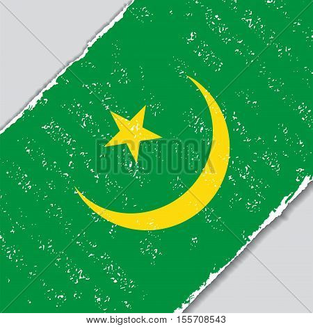 Mauritanian grunge flag diagonal background. Vector illustration.