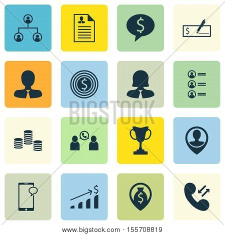 Set Of Hr Icons On Tree Structure, Successful Investment And Business Deal Topics. Editable Vector I