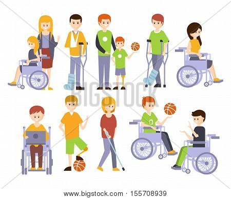 Physically Handicapped People Living Full Happy Life With Disability Set Of Illustrations With Smiling Disabled Men And Women. Colorful Flat Vector Cartoon Characters With Physical Impairments And In Wheelchairs.