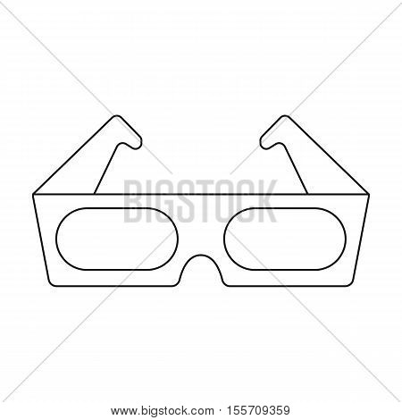 Anaglyph 3D glasses icon in outline style isolated on white background. Films and cinema symbol vector illustration.
