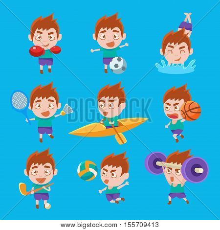 Kid Sportsman Doing Different Sport Types Set Of Illustrations. Colorful Vector Stickers With Sportive Boy Doing Assortment Of Training Workouts.