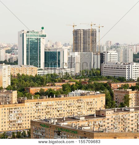 Moscow Russia - 22 June 2016: Moscow panoramic view from above - avenues residential area Sberbank of Russia office center building construction cranes and new buildings on Moscow Russia
