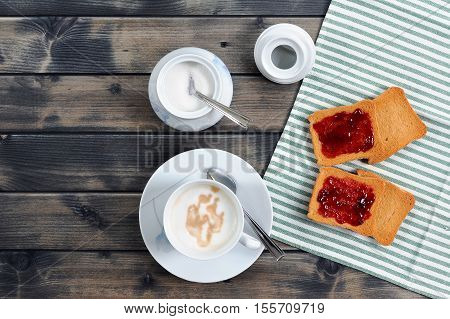 Breakfast With Coffee Milk And Rusks With Jam