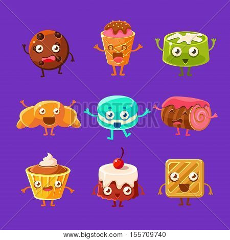 Happy Food Sweets And Sweet Pastry Characters With Faces, Hands And Legs. Cartoon Humanized Eatable Creatures Smiling And Waving Set Of Illustrations On Dark Background.