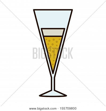 silhouette with champagne cup tulip vector illustration