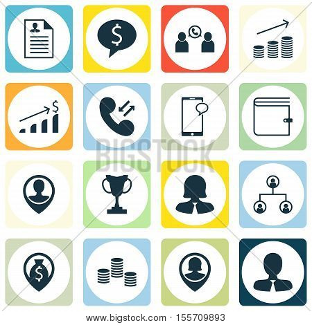 Set Of Management Icons On Manager, Cellular Data And Business Woman Topics. Editable Vector Illustr