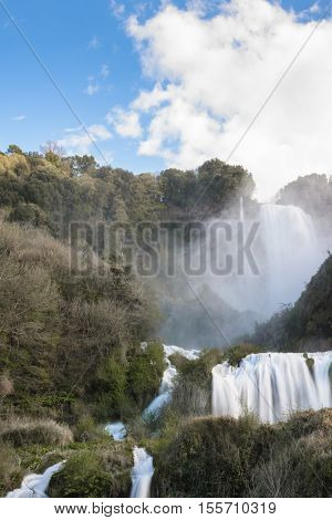 a view of marmore falls in umbria italy