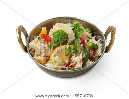 Vegan and vegetarian dish, spicy rice with lemon broccoli and other vegetables in bowl. Indian cuisine with herbs, healthy meal isolated on white background. Eastern local cuisine restaurant food.