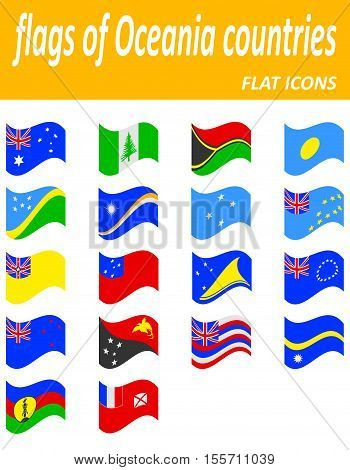 flags of oceania countries flat icons vector illustration isolated on white background