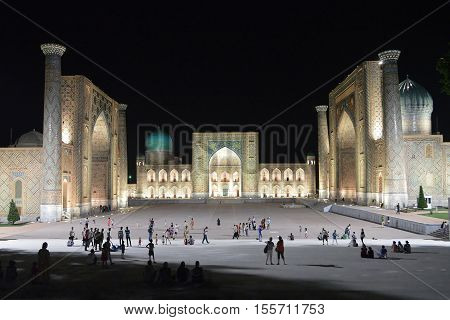 Photography with scene night Registana in city Samarkand Samarkand, Uzbekistan. The June 5  2016. The Night type Registan.