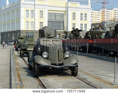 Upper Pyshma, Russia - July 2, 2016: Light armored car BA-20 in the Museum of Military Equipment.