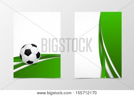 Front and back digital flyer template design. Abstract template with green waves and soccer ball in futuristic style. Vector illustration
