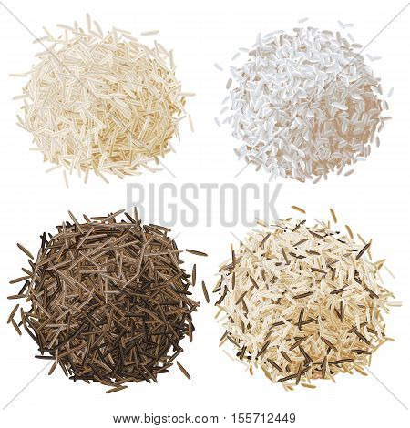 Realistic rice pile set vector illustration, basmati, risotto, wild brown rice and mixed rice