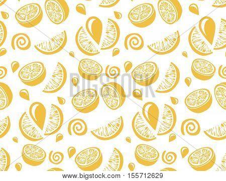Lemon and orange juice illustration. Citrus seamless pattern.