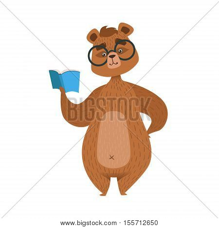 Girly Cartoon Brown Bear Character In Glasses Reading The Book Illustration. Humanized Wild Forest Animal And His Activities Childish Vector Sticker.