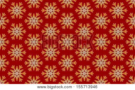 Vector Seamless Pattern of Gold Snowflakes on a Red Background. Texture for invitation card, fabric, paper and other Christmas holidays wrapped projects.