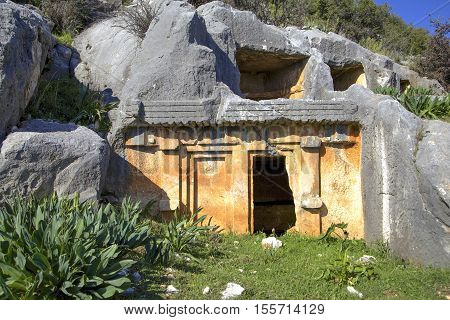 Limyra tombs in the ancient city of Antalya in Turkey.