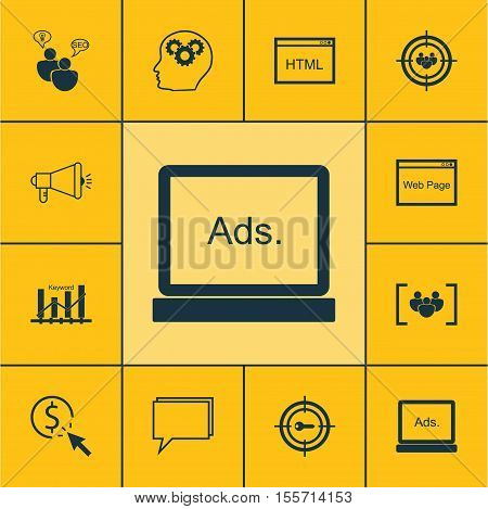 Set Of Advertising Icons On Media Campaign, Keyword Marketing And Keyword Optimisation Topics. Edita