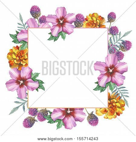 Wildflower hibiscus frame in a watercolor style isolated. Full name of the plant: marigold, hibiscus. Aquarelle wild flower for background, texture, wrapper pattern, frame or border.
