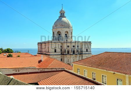 Church And Sea View From Roof. Lisbon, Portugal.