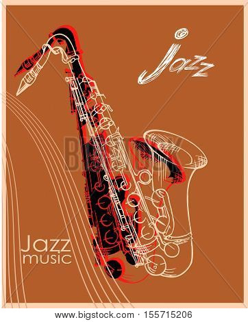 Jazz music festival background template, saxophone poster poster