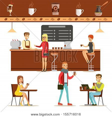 Interior Design And Happy Clients Of A Coffee Shop Set Of Illustrations. People Ordering And Enjoying Drinks And Food In A Cafe Colorful Simple Vector Drawings.