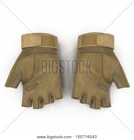 Top view soldier yellow short finger gloves isolated on white background. 3D illustration