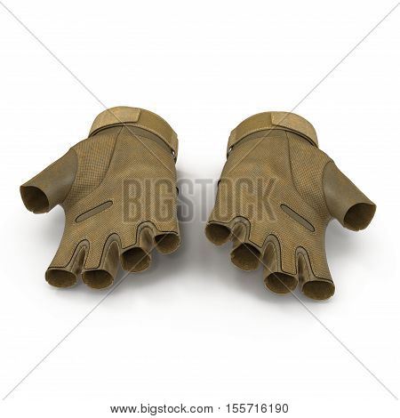 Tactical military short finger gloves, detail of part of Us soldier uniform. Isolated on white background. 3D illustration