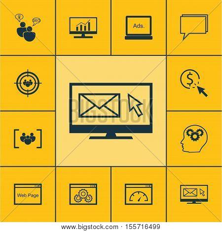 Set Of Seo Icons On Newsletter, Website Performance And Digital Media Topics. Editable Vector Illust