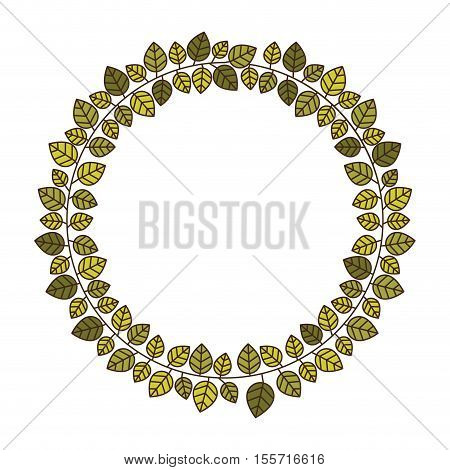 circular frame of green leaves with ramifications vector illustration