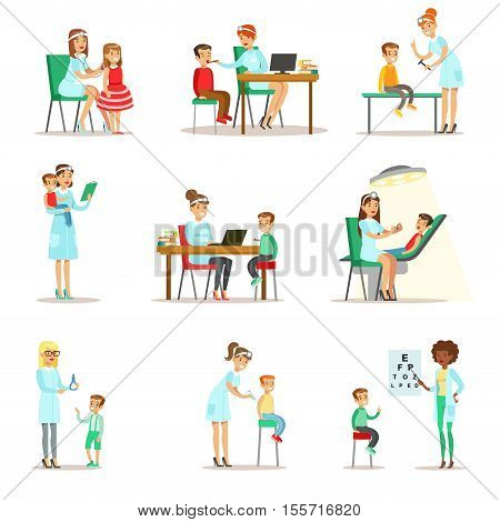 Children On Medical Check-Up With Female Pediatrician Doctors Doing Physical Examination For The Pre-School Health Inspection. Young Children On Medical Appointment Checking General Physical Condition Set Of Illustrations.