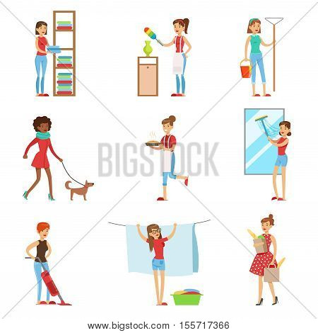 Happy Modern Housewives Shopping And Housekeeping, Performing Different Household Duties With A Smile. Staying-at-home Wives In Traditional Female Family Role Set Of Colorful Cartoon Illustrations.