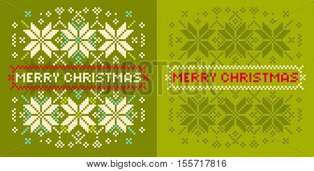 Christmas card with  knitted snowflakes. Seasonal greeting card with knitted pattern
