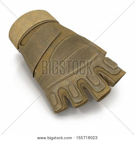 Outdoor Half Finger Assault Soldier Gloves Tan on white background. 3D illustration