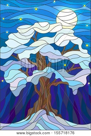 Illustration in stained glass style lonely snow-covered tree against the night sky and the moon