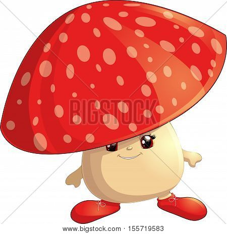 cheerful mushroom hat on a white background