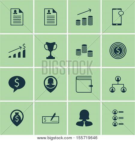 Set Of Hr Icons On Tree Structure, Money Navigation And Business Woman Topics. Editable Vector Illus