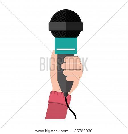 hand holding microphone with green support vector illustration